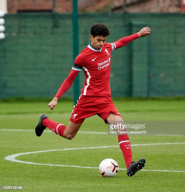 Jarell Quansah of Liverpool in action at Melwood Training Ground on November 21, 2020 in Liverpool, England.