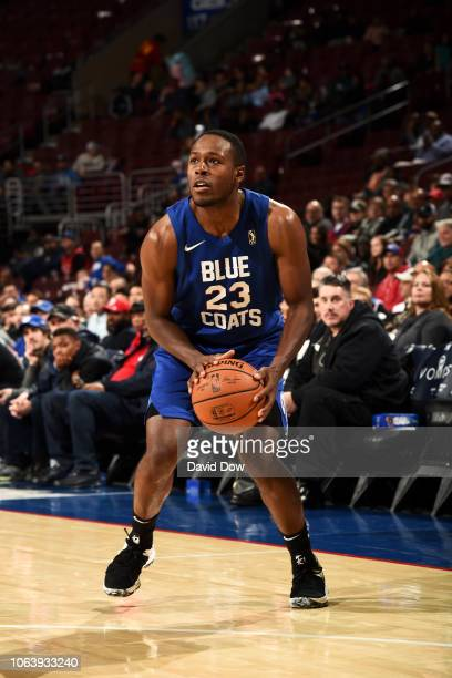 Jaren Brownridge of the Delaware Blue Coats handles the ball against the Canton Charge on November 20 2018 at the Wells Fargo Center in Philadelphia...