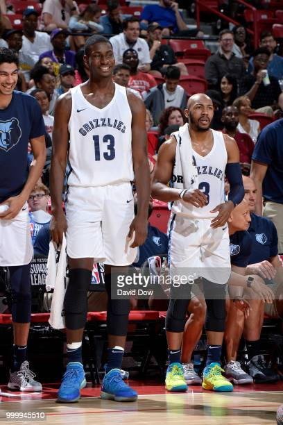 Jaren Jackson Jr #13 and Jevon Carter of the Memphis Grizzlies look on during the game against the Philadelphia 76ers during the 2018 Las Vegas...