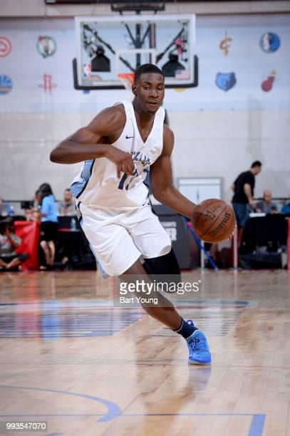 Jaren Jackson Jr #13 of Memphis Grizzlies handles the ball against the Detroit Pistons during the 2018 Las Vegas Summer League on July 6 2018 at the...