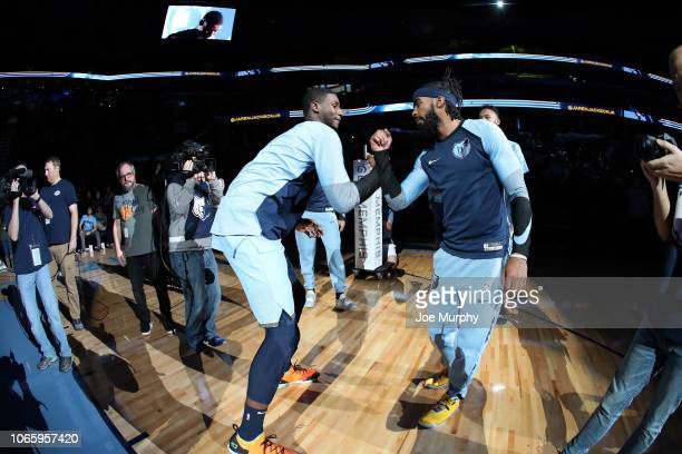 Jaren Jackson Jr #13 of the Memphis Grizzlies and Mike Conley of the Memphis Grizzlies celebrate during player introductions prior to the game...