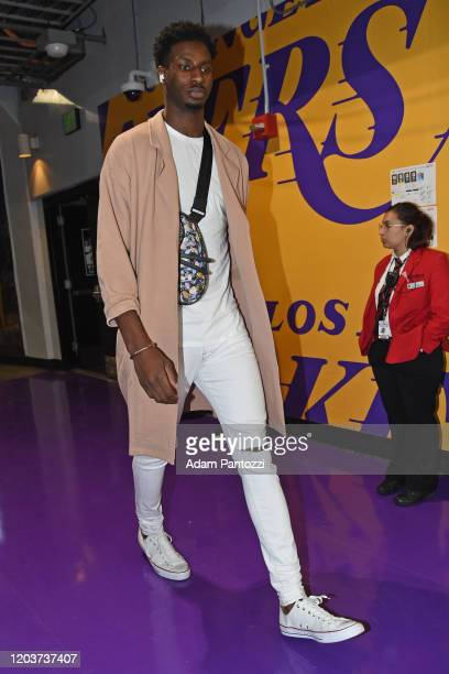 Jaren Jackson Jr #13 of the Memphis Grizzlies arrives for the game on February 21 2020 at STAPLES Center in Los Angeles California NOTE TO USER User...
