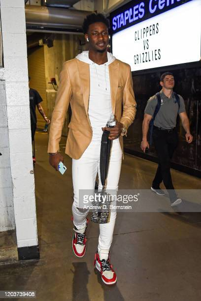 Jaren Jackson Jr #13 of the Memphis Grizzlies arrives for the game on February 24 2020 at STAPLES Center in Los Angeles California NOTE TO USER User...