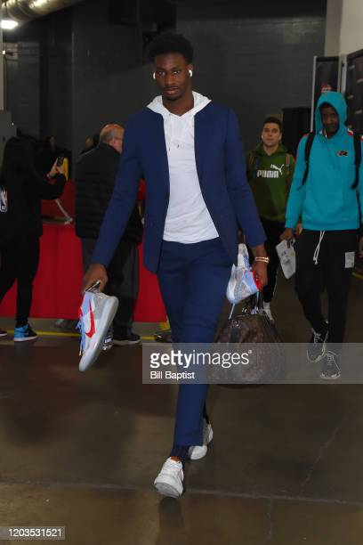 Jaren Jackson Jr #13 of the Memphis Grizzlies arrives prior to a game against the Houston Rockets on February 26 2020 at the Toyota Center in Houston...