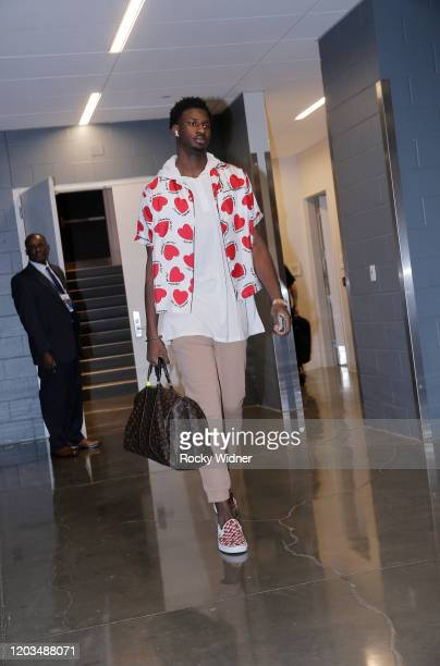 Jaren Jackson Jr #13 of the Memphis Grizzlies arrives to the arena prior to the game against the Sacramento Kings on February 20 2020 at Golden 1...