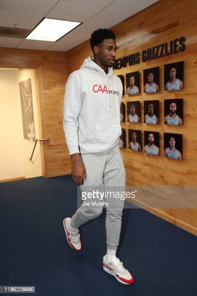Jaren Jackson Jr #13 of the Memphis Grizzlies arrives to the game against the Indiana Pacers on December 2 2019 at FedExForum in Memphis Tennessee...