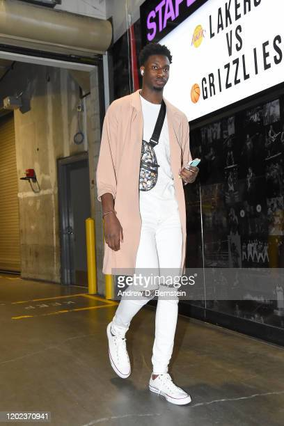 Jaren Jackson Jr #13 of the Memphis Grizzlies arrives to the game against the Los Angeles Lakers on February 21 2020 at STAPLES Center in Los Angeles...