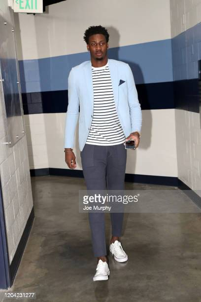 Jaren Jackson Jr #13 of the Memphis Grizzlies arrives to the game against the Los Angeles Lakers on February 29 2020 at FedExForum in Memphis...