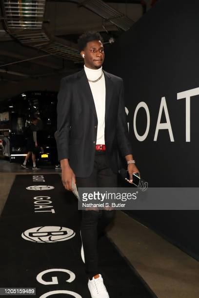 Jaren Jackson Jr #13 of the Memphis Grizzlies arrives to the game against the Brooklyn Nets on March 4 2020 at Barclays Center in Brooklyn New York...