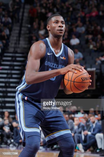 Jaren Jackson Jr #13 of the Memphis Grizzlies attempts a freethrow shot against the Sacramento Kings on October 24 2018 at Golden 1 Center in...