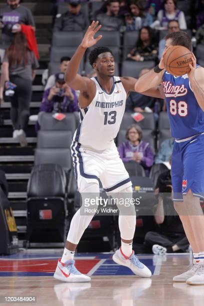 Jaren Jackson Jr #13 of the Memphis Grizzlies defends Nemanja Bjelica of the Sacramento Kings on February 20 2020 at Golden 1 Center in Sacramento...