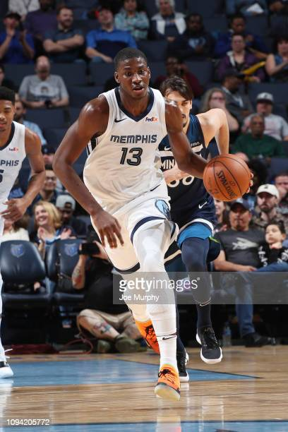 Jaren Jackson Jr #13 of the Memphis Grizzlies dribbles the ball during the game against the Minnesota Timberwolves on February 5 2019 at FedExForum...