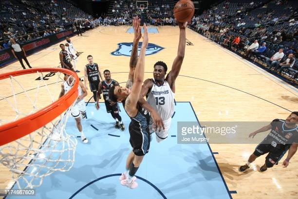 Jaren Jackson Jr #13 of the Memphis Grizzlies drives to the basket against the New Zealand Breakers on October 8 2019 at FedExForum in Memphis...