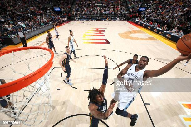 Jaren Jackson Jr #13 of the Memphis Grizzlies drives to the basket during the game against the Utah Jazz on July 3 2018 at Vivint Smart Home Arena in...