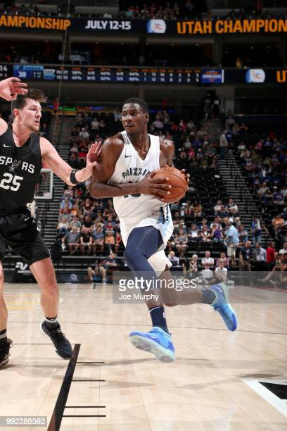 Jaren Jackson Jr #13 of the Memphis Grizzlies drives to the basket against the San Antonio Spurs on July 5 2018 at Vivint Smart Home Arena in Salt...