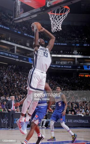 Jaren Jackson Jr #13 of the Memphis Grizzlies dunks against the Sacramento Kings on February 20 2020 at Golden 1 Center in Sacramento California NOTE...