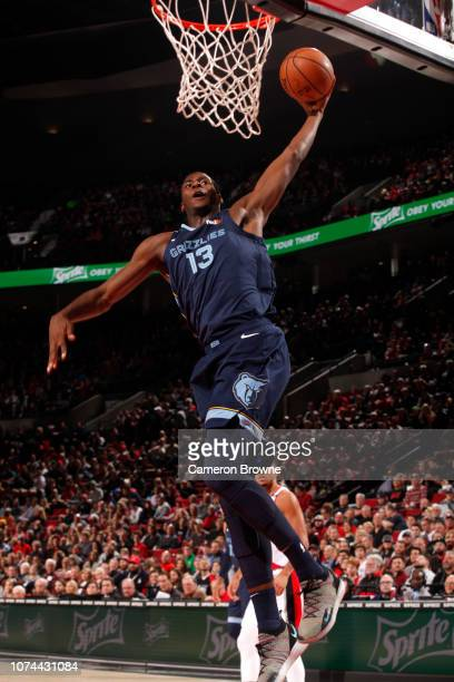Jaren Jackson Jr #13 of the Memphis Grizzlies dunks against the Portland Trail Blazers on December 19 2018 at the Moda Center Arena in Portland...