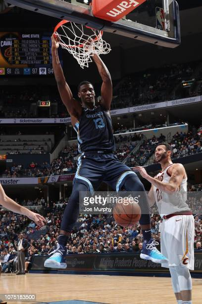 Jaren Jackson Jr #13 of the Memphis Grizzlies dunks the ball against the Cleveland Cavaliers on December 26 2018 at FedExForum in Memphis Tennessee...