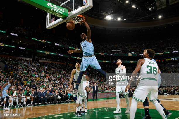 Jaren Jackson Jr #13 of the Memphis Grizzlies dunks the ball against the Boston Celtics on January 18 2019 at the TD Garden in Boston Massachusetts...