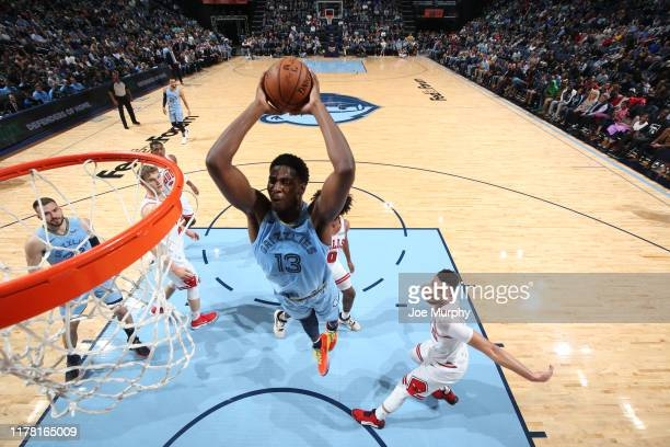 Jaren Jackson Jr #13 of the Memphis Grizzlies dunks the ball against the Chicago Bulls on October 25 2019 at FedExForum in Memphis Tennessee NOTE TO...