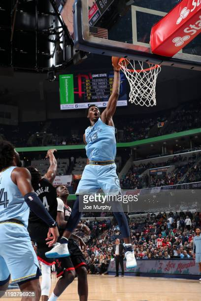 Jaren Jackson Jr #13 of the Memphis Grizzlies dunks the ball against the Houston Rockets on January 14 2020 at FedExForum in Memphis Tennessee NOTE...