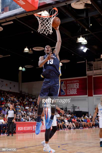 Jaren Jackson Jr #13 of the Memphis Grizzlies dunks the ball against the Oklahoma City Thunder during the 2018 Las Vegas Summer League on July 12...