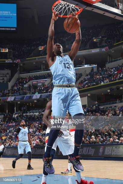 Jaren Jackson Jr #13 of the Memphis Grizzlies dunks the ball during the game against the New Orleans Pelicans on January 21 2019 at FedExForum in...