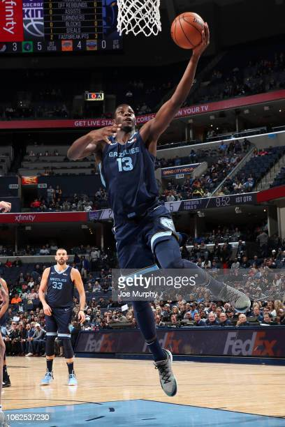 Jaren Jackson Jr #13 of the Memphis Grizzlies goes to the basket against the Sacramento Kings on November 16 2018 at FedExForum in Memphis Tennessee...