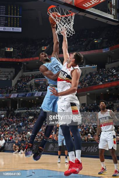 Jaren Jackson Jr #13 of the Memphis Grizzlies goes up for a dunk agains the New Orleans Pelicans on January 21 2019 at FedExForum in Memphis...