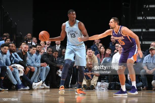 Jaren Jackson Jr #13 of the Memphis Grizzlies handles the ball against the Phoenix Suns on October 27 2018 at FedExForum in Memphis Tennessee NOTE TO...