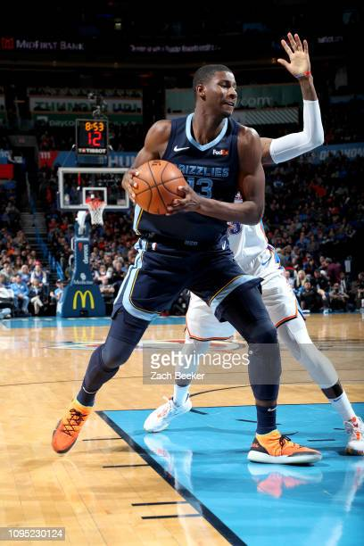Jaren Jackson Jr #13 of the Memphis Grizzlies handles the ball against the Oklahoma City Thunder on February 7 2019 at Chesapeake Energy Arena in...