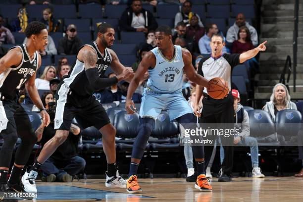 Jaren Jackson Jr #13 of the Memphis Grizzlies handles the ball against the San Antonio Spurs on February 12 2019 at FedExForum in Memphis Tennessee...