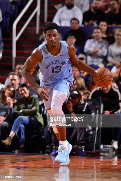Jaren Jackson Jr #13 of the Memphis Grizzlies handles the ball against the Phoenix Suns on December 11 2019 at Talking Stick Resort Arena in Phoenix...