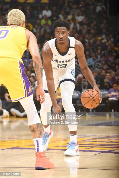 Jaren Jackson Jr #13 of the Memphis Grizzlies handles the ball against the Indiana Pacers on February 21 2020 at STAPLES Center in Los Angeles...
