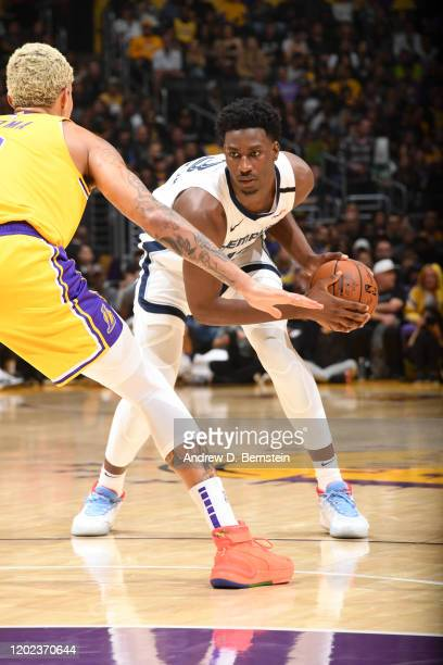 Jaren Jackson Jr #13 of the Memphis Grizzlies handles the ball against the Los Angeles Lakers on February 21 2020 at STAPLES Center in Los Angeles...