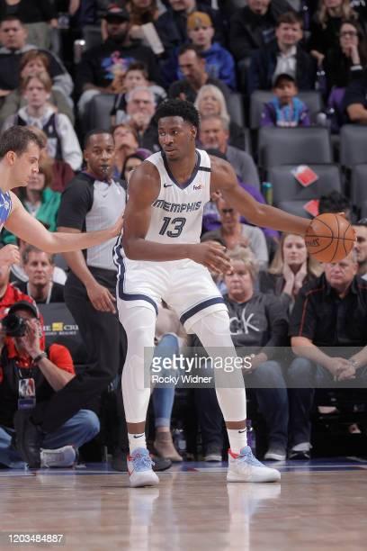 Jaren Jackson Jr #13 of the Memphis Grizzlies handles the ball against the Sacramento Kings on February 20 2020 at Golden 1 Center in Sacramento...