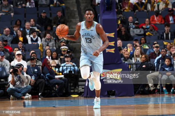 Jaren Jackson Jr #13 of the Memphis Grizzlies handles the ball during a game against the Denver Nuggets on November 17 2019 at FedExForum in Memphis...