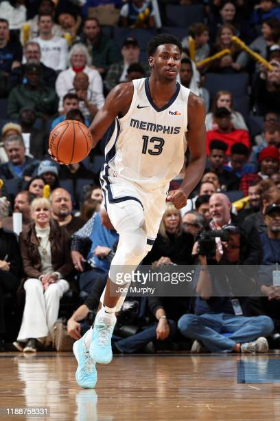 Jaren Jackson Jr #13 of the Memphis Grizzlies handles the ball during the game against the Washington Wizards on December 14 2019 at FedExForum in...