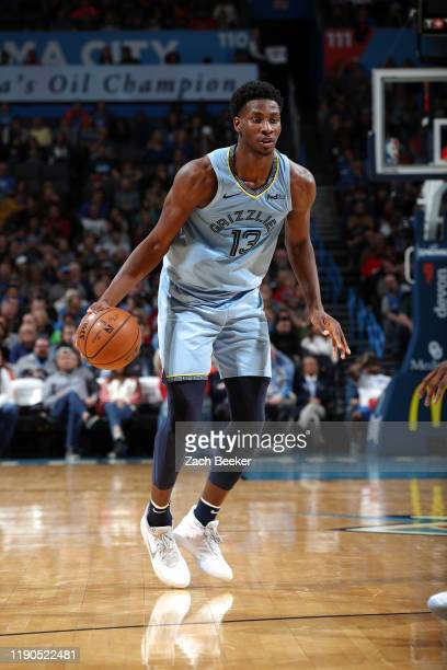 Jaren Jackson Jr #13 of the Memphis Grizzlies handles the ball during the game against the Oklahoma City Thunder on December 26 2019 at Chesapeake...