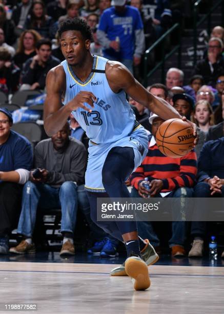 Jaren Jackson Jr #13 of the Memphis Grizzlies handles the ball during a game against the Dallas Mavericks on February 5 2020 at the American Airlines...