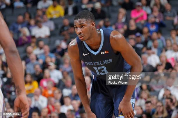 Jaren Jackson Jr #13 of the Memphis Grizzlies looks on during the game against the Sacramento Kings on October 24 2018 at Golden 1 Center in...