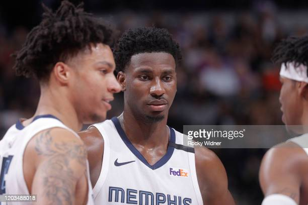 Jaren Jackson Jr #13 of the Memphis Grizzlies looks on during the game against the Sacramento Kings on February 20 2020 at Golden 1 Center in...