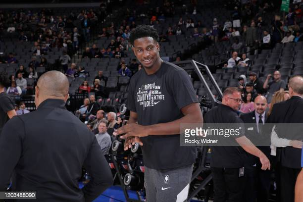 Jaren Jackson Jr #13 of the Memphis Grizzlies looks on prior to the game against the Sacramento Kings on February 20 2020 at Golden 1 Center in...