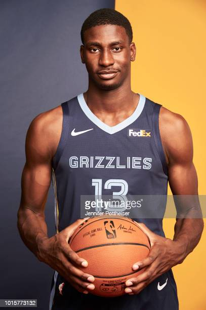 Jaren Jackson Jr #13 of the Memphis Grizzlies poses for a photo during the 2018 NBA Rookie Shoot on August 12 2018 at the Madison Square Garden...