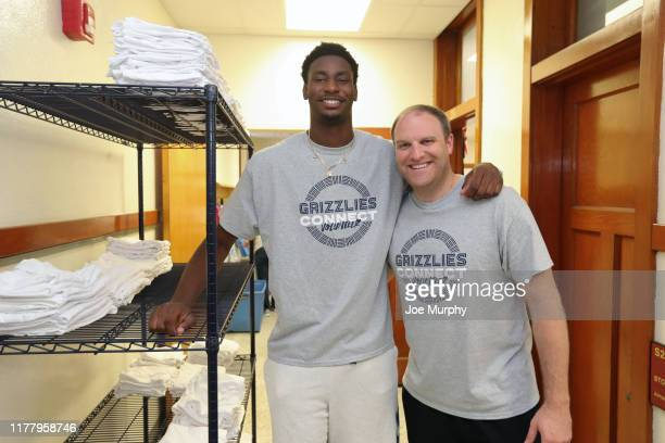 Jaren Jackson Jr #13 of the Memphis Grizzlies poses for a photo with Taylor Jenkins during a connect volunteer event on October 21 2019 at Bethel...
