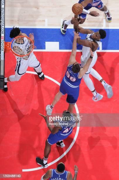 Jaren Jackson Jr #13 of the Memphis Grizzlies puts up a shot against Nemanja Bjelica of the Sacramento Kings on February 20 2020 at Golden 1 Center...