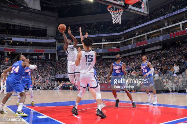 Jaren Jackson Jr #13 of the Memphis Grizzlies puts up a shot against the Sacramento Kings on February 20 2020 at Golden 1 Center in Sacramento...