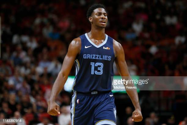 Jaren Jackson Jr #13 of the Memphis Grizzlies reacts against the Miami Heat during the first half at American Airlines Arena on October 23 2019 in...
