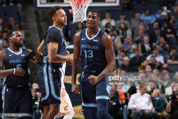 Jaren Jackson Jr #13 of the Memphis Grizzlies reacts during a game against the Cleveland Cavaliers on December 26 2018 at FedExForum in Memphis...