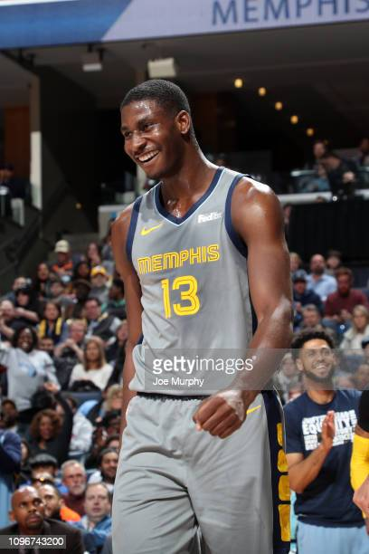 Jaren Jackson Jr #13 of the Memphis Grizzlies reacts during a game against the New Orleans Pelicans on February 9 2019 at FedExForum in Memphis...
